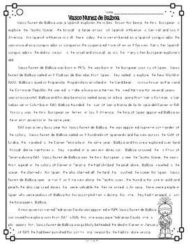 Vasco Nunez De Balboa {Differentiated Close Reading Passages & Questions}