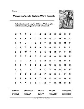 Vasco Núñez de Balboa Word Search (Grades 2-4)