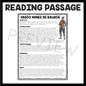Vasco Nunez de Balboa Reading Comprehension Worksheet, Exploration