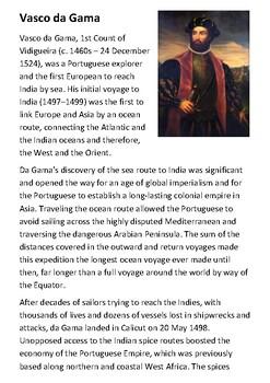 Vasco da Gama Handout with activities