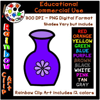 Vase for Flowers  - Rainbow Clipart - 12 Colors - Commercial Use {Simple Clips}