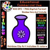 Vase for Flowers  - Rainbow Clipart - 12 Colors - Commerci