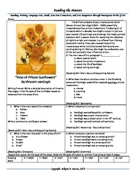 "Intervention & Test Prep with ""Vase with Twelve Sunflowers"" by VanGogh"