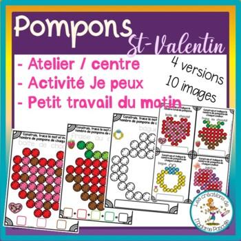 Vday fuzzy pompoms activities FRENCH / Atelier de pompons - St-Valentin