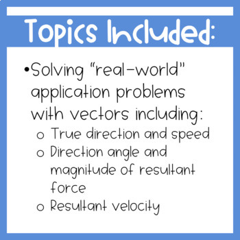 Vector Application Problems Worksheet {Precalculus or Geometry}