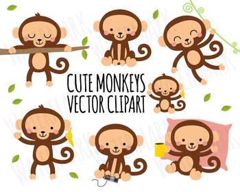 Vector Clipart Monkey, Cute Monkey Clipart, Safari clipart, Jungle clipart