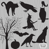 Vector Halloween Silhouette Clip Art Raven Witch Wolf Owl Black Cat Crow