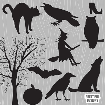 Vector Halloween Silhouette Clip Art Raven Witch Wolf Owl