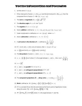 Vector Information and Formulas