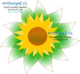 Vector, Paper flower template, 3d, floral stencil, scrapbook, sunflower, clipart