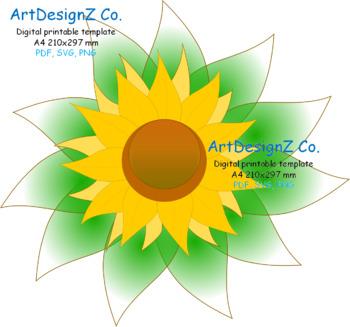 vector paper flower template 3d floral stencil scrapbook