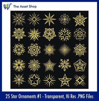Vector 'Star Ornaments' Set #1 (Digital Clip Art)