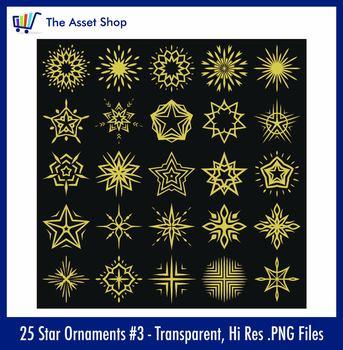 Vector 'Star Ornaments' Set #3 (Digital Clip Art)