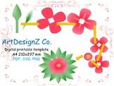 Vector, paper flower templates, 3d, floral, pdf and svg, clipart, digital paper,