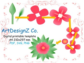 Vector Paper Flower Templates 3d Floral Pdf And Svg Clipart
