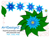 Vector, paper flower templates pdf and svg, pattern, clipart, craft, digital pap