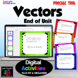 Vectors End of Unit Digital Task Cards with Google Slides plus HW and Organizer