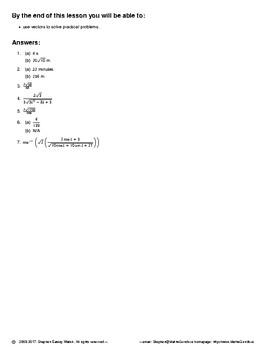 Vectors – Practical Problems