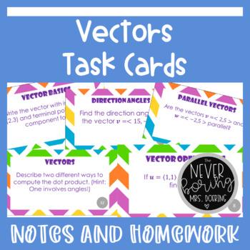 Vectors Task Cards (Basics, Operations, Angles) Activity