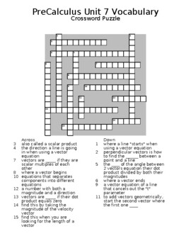 Vectors Vocabulary: Word Search and Crossword Puzzle