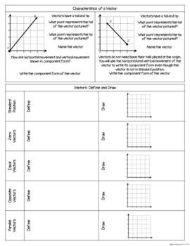 Vectors and Parametric Equations - Interactive Notebook Activities