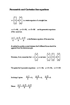 Vectors for IBH mathematics :  Parametric / Cartesian line