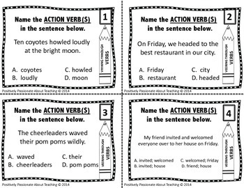 Veering Through Verbs: 28 Task Cards (WITH and WITHOUT Multiple Choice Answer)