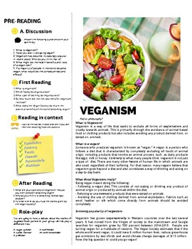 Veganism - Reading Comprehension for English & ESL Classrooms