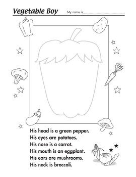Vegetable Boy Worksheet