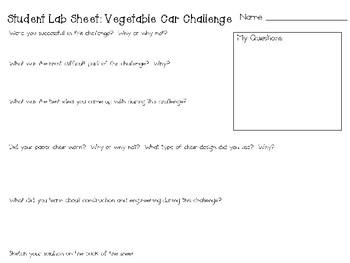 Vegetable Cars: Engineering Challenge Project ~ Great STEM Homework Activity!