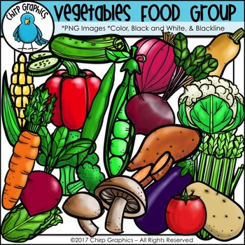 Vegetable Food Group Clip Art Set - Chirp Graphics