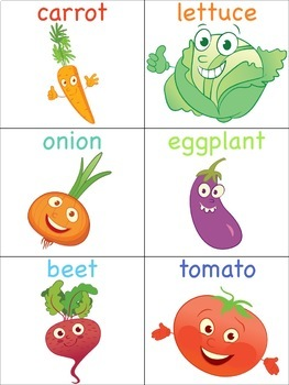 Vegetable Flashcards for the Virtual ESL Classroom - Virtual Classroom Props