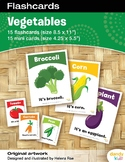 Vegetable Flashcards / Set of 15 / Printable