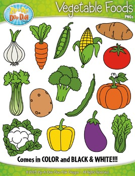 Vegetable Foods Clipart Set — Includes 30 Graphics!