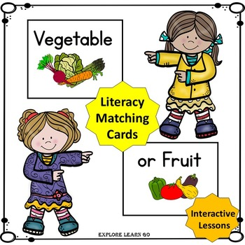 Vegetable / Fruit Interactive Literacy Matching Cards / Montessori style