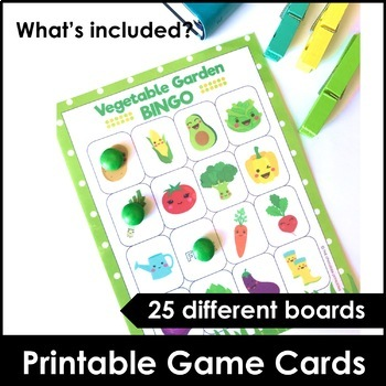 Vegetable Garden Bingo Cards and Flashcard Set