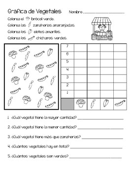 Vegetable Graphing Activity in Spanish