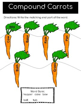 Vegetable Language Skills- Compound words, rhyme, plurals