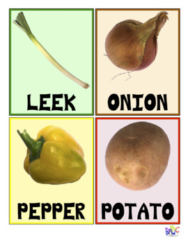 10 Vegetable Flash Cards in English and French