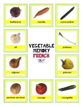 Health Living Vegetable Memory in French and English