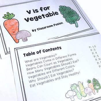 Healthy Eating and Nutritional Activities: Printable Vegetable Mini-Book | Bingo