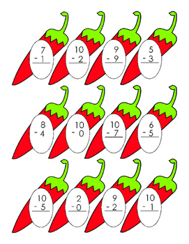 Vegetable Red Chili Pepper 0 to 10 Subtraction Math 1 page