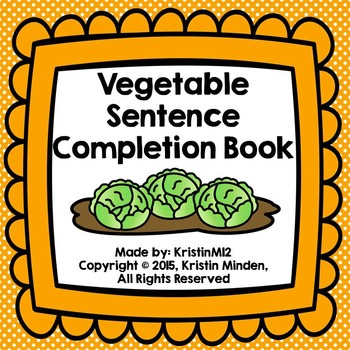 Vegetable Sentence Completion Book