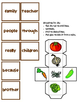 Vegetable Stand Sight Word Game