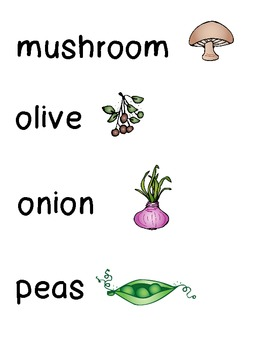 Vegetable Word Wall Cards