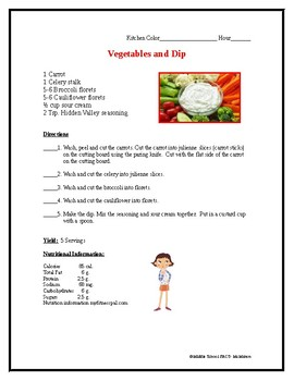 Vegetable and Dip Recipe for A Cooking Lab