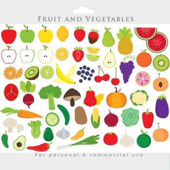 Vegetable clipart - fruit clip art food slices apples broccoli cucumber potato