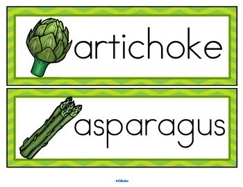 Vegetables Vocabulary Activities and Centers for Preschool and Kindergarten