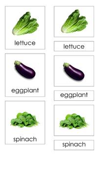 Vegetables (3-Part Montessori Cards)