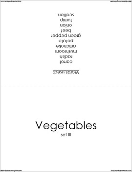 Vegetables BUNDLE (set I, II, III) Picture Flashcards